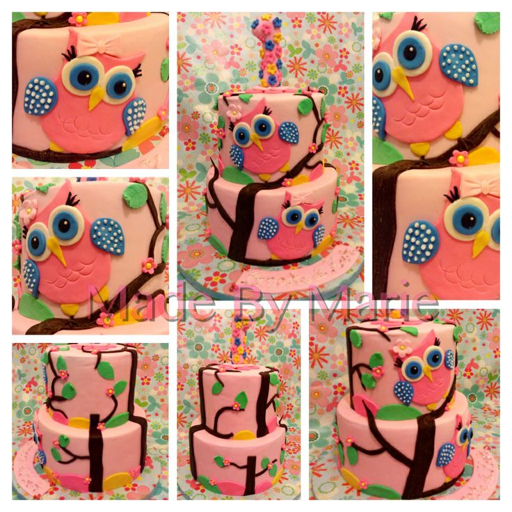 Owl cake for twins 1st birthday
