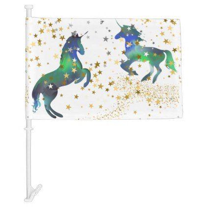 unicorns playing with gold glitter stars car flag - glitter glamour brilliance sparkle design idea diy elegant