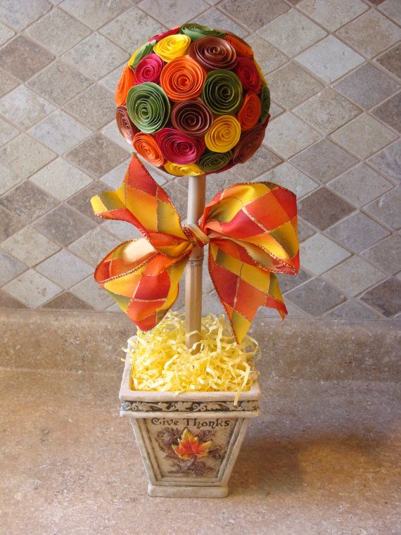 Fall paper flower topiary thanksgiving table by