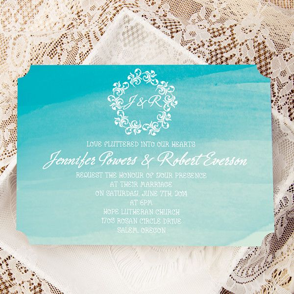 scuba blue beach watercolor ticket shape wedding invitations EWIr373 as low as $1.04