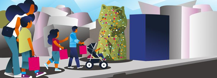 Familia vistando el museo Guggenheim en Bilbao