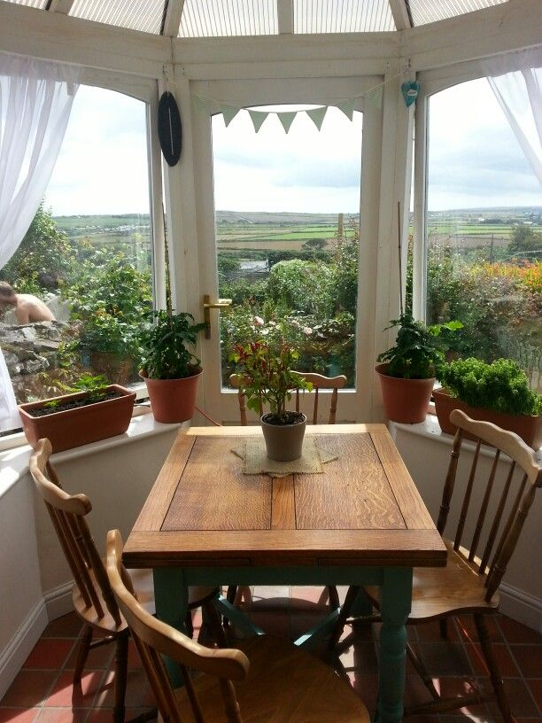 My favourite room with a gorgeous view! Annie sloan plainted table legs :)