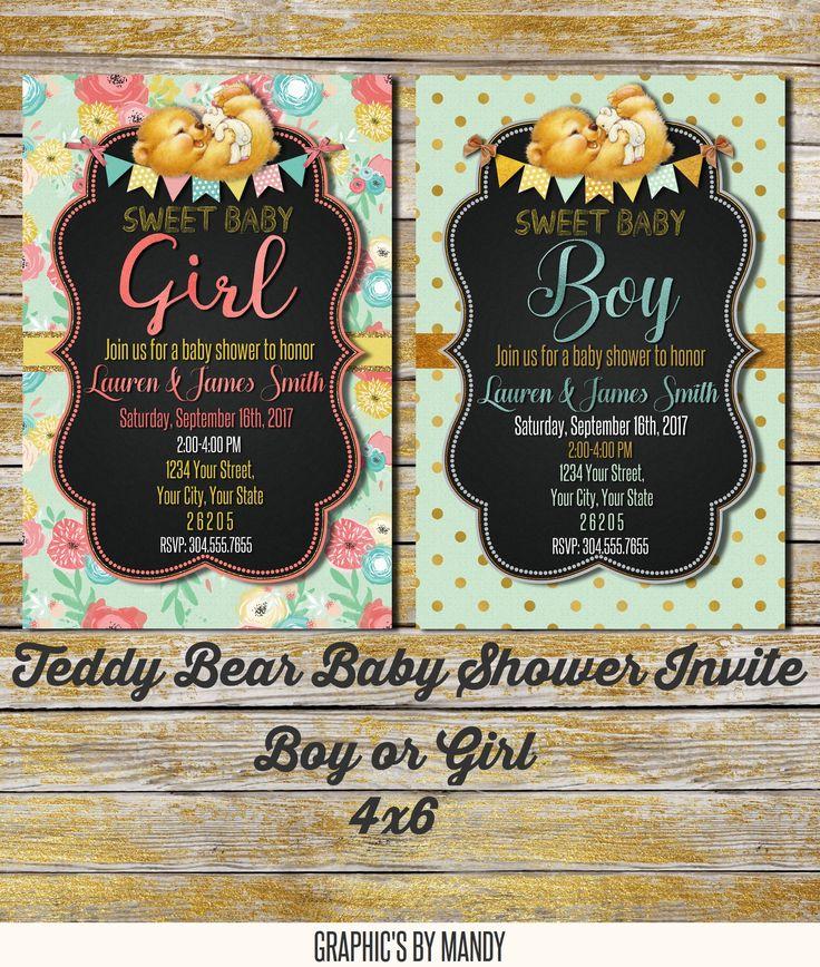 bridal shower invitations registry etiquette%0A Teddy Bear Baby Shower Invite for boy or girl   x  digital PDF