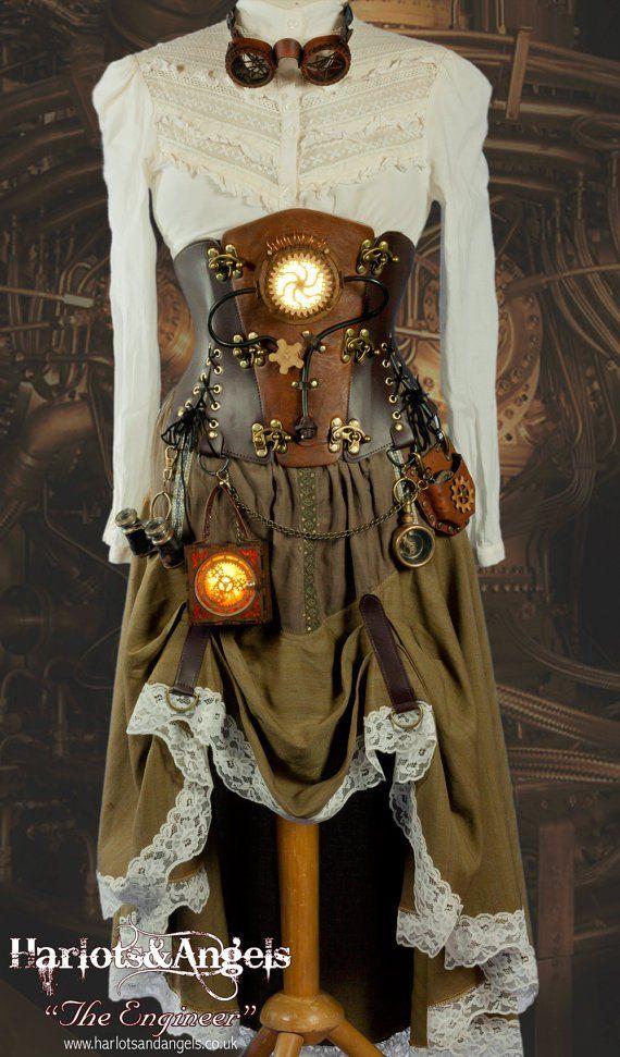 Steampunk dress with glowing lantern