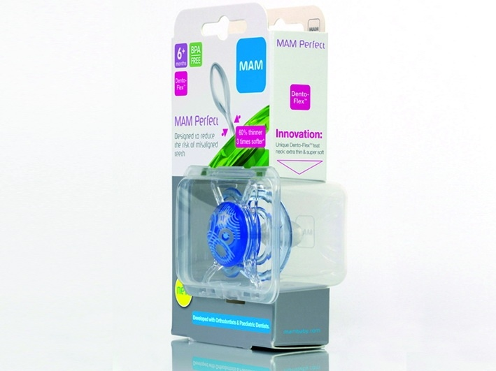 Emballage pour tétine MAM Perfect, la boite se garde pour la stérilisation, le carton est recyclable.  http://www.verpackungsrundschau.de/fm81/4/MAM_Schnuller_HMI_Award.jpg
