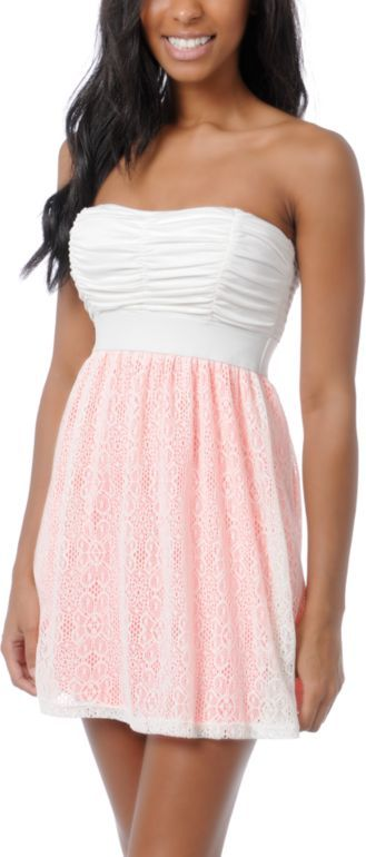 cute #Summer dress! strapless, white and pink. perfect for the warm breezy weather.