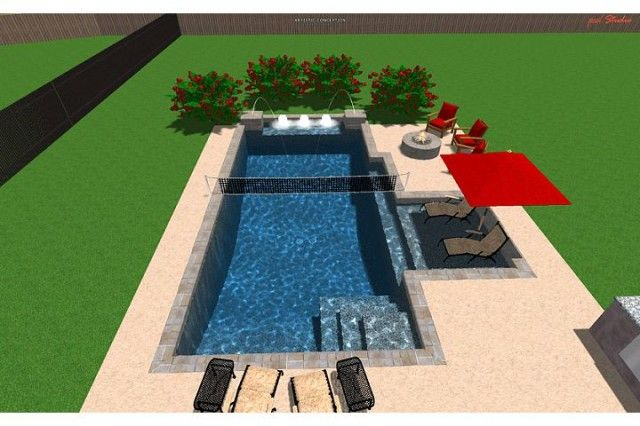 Lounge Chair Deck In The Water Rectangle Pool
