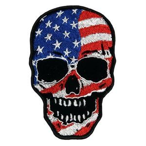 Picture of American Flag Skull Hook and Loop Patch