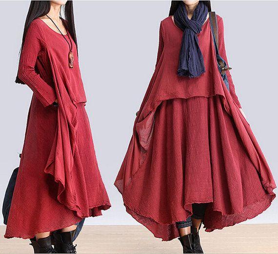 Long sleeve loose linen dress cotton linen dress plus size dress casual topcoat