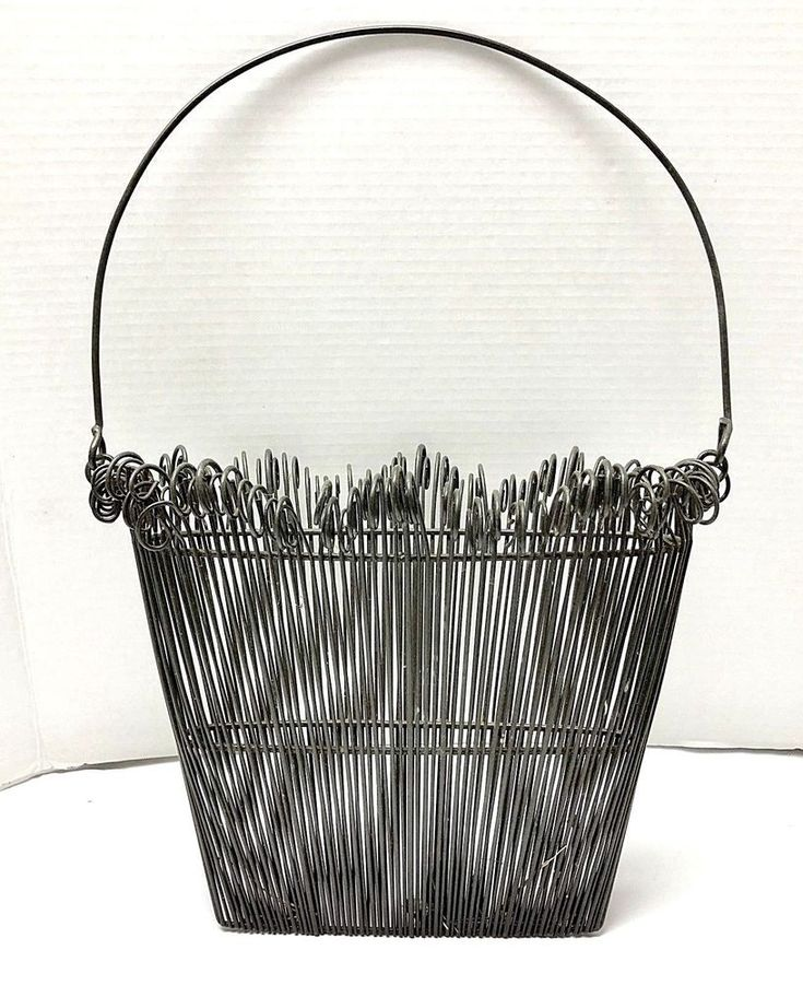 Farmhouse shabby chic black wire basket for hanging or