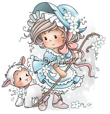 Little Bo Peep by Sylvia Zet for Wee Stamps.I have this stamp so this will give me ideas for coloring.