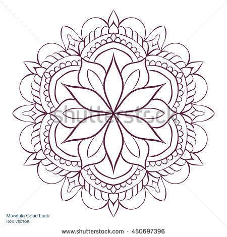 Mandala Good Luck. Circular ornament on a white background. Handmade drawing. Arabic, Oriental, Indian decorative element. Coloring book for adults.
