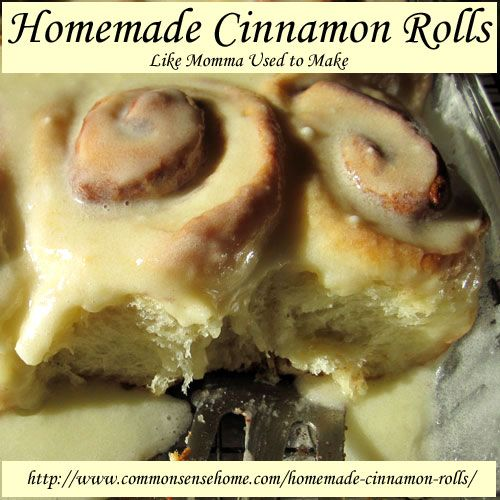 Homemade Cinnamon Rolls Like Momma Used to Make with Vanilla Icing or Caramel-Pecan Sauce