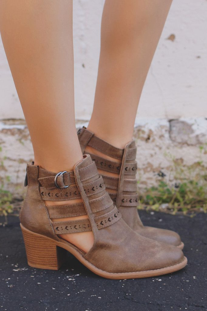 Cutout Shaft Strap Accent Block Heel Booties TOBIN-34