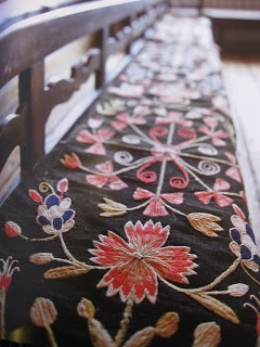♒ Enchanting Embroidery ♒ embroidered bench pillow