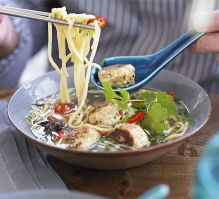 Spiced chicken meatballs with noodles, basil & broth recipe - Recipes - BBC Good Food