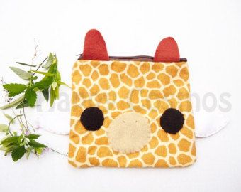 Back to School - Giraffe Print Pouch - Cute Pencil Case , Kawaii Make Up Pouch , Print Bag, Coin Purse, 3DS Case, Phone Case