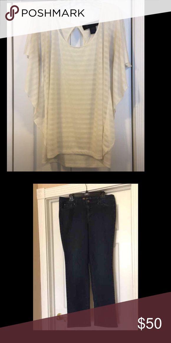 Kardashian kollection  outfit jeans 16 shirt xl Kardashian kollection outfit top is xl has some piling and jeans size 16 Kardashian Kollection Other