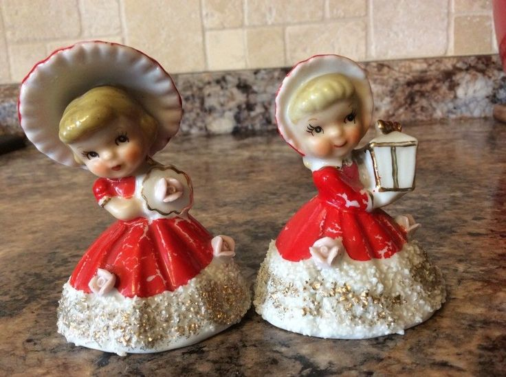 2 Mid-century Norcrest Fine China Girl Small Figurine Christmas Bells F-72~Japan