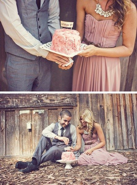cute idea - pics with the cake you saved from your wedding, 1 year anniversary.