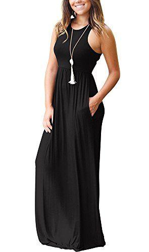 b07efd31c036 UTOSI Women's Sleeveless Racerback Loose Plain Maxi Dress Casual Long Beach  Dresses with Pockets in 2019 | Fashion | Maxi dress with sleeves, Dresses,  ...