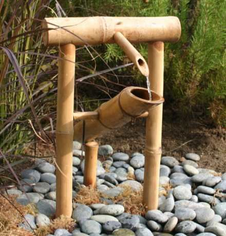 Bamboo Trellis Designs | Bamboo Deer Chaser Adds Decorative Water Feature to Garden