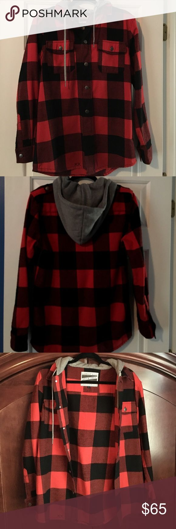 GLAMOUR KILLS  Henderson jacket. Red/Black plaid This red and black plaid glamour kills Henderson  jacket has only been worn once. It is the perfect light jacket for the fall transitioning into winter! Button up with gray hoodie!  Super comfortable jacket that can be worn by both men and women Jackets & Coats