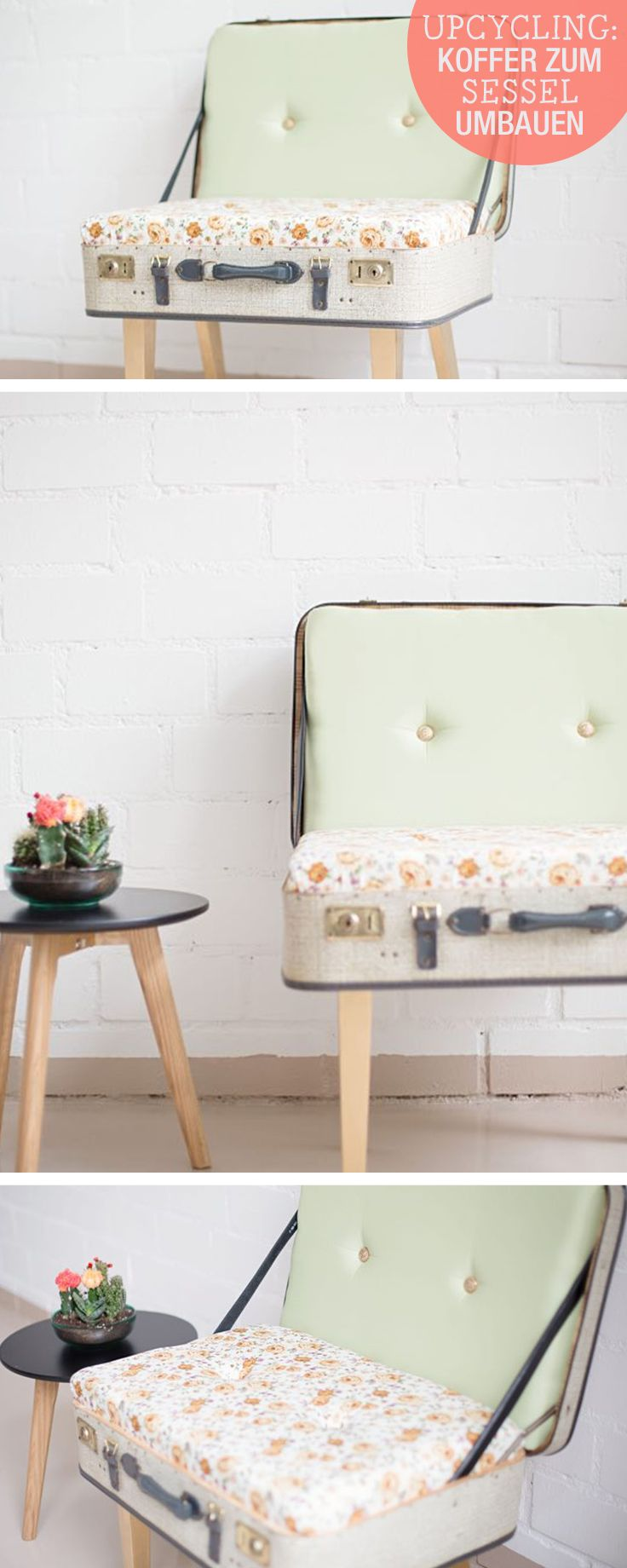 DIY-Anleitung: Sessel aus Koffer bauen, Upcycling / craft idea living: tansform an old suitcase into a chair, recycling via DaWanda.com