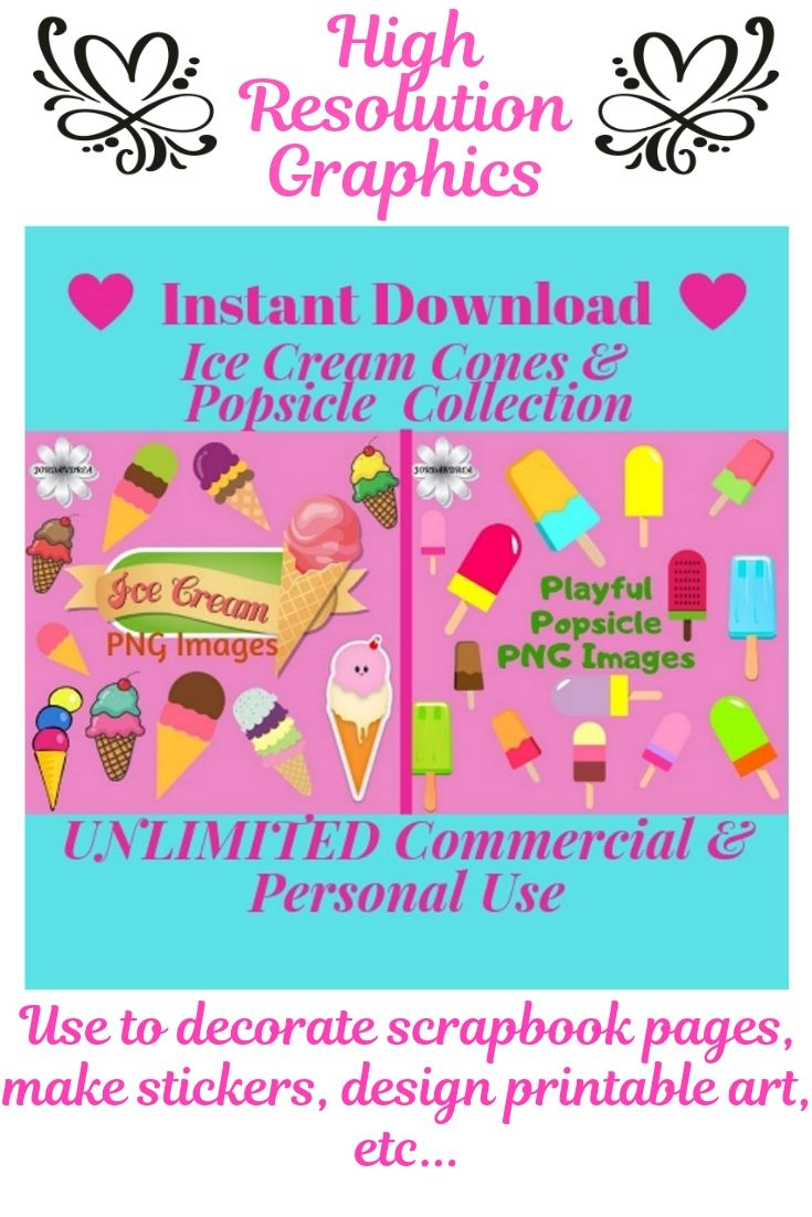 Ice Cream Popsicle Collection Png Image Clipart Set With Etsy Clip Art Create Digital Product Png Images