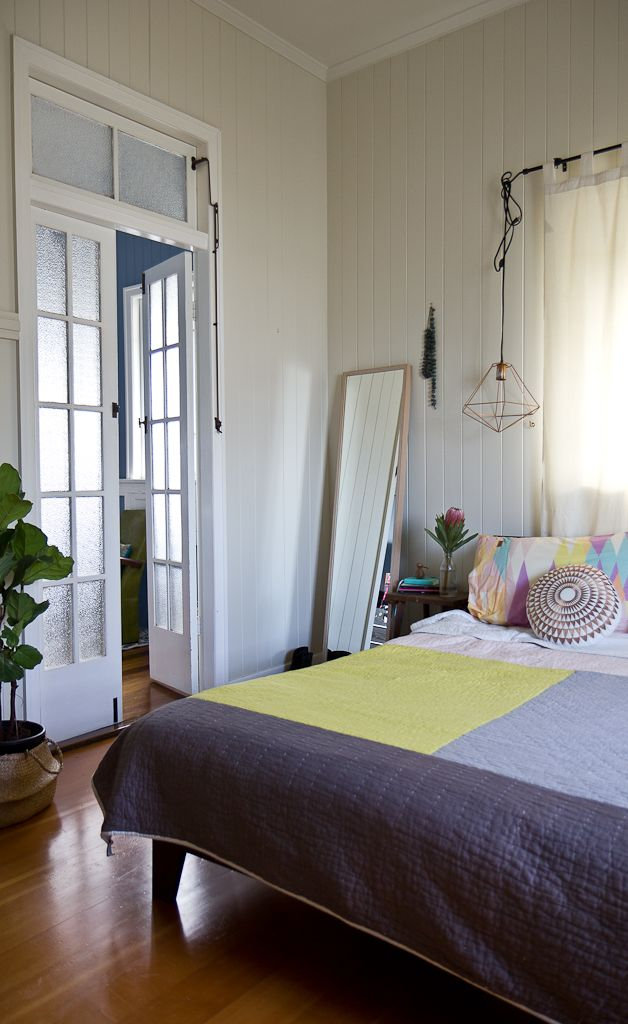The Annerley home of The Affordable Style Files.  Photo by Elizabeth Santillan www.walkamongthehomes.com.au  #interiors #styling #queenslander #brisbanehomes #bedroom #frenchdoors