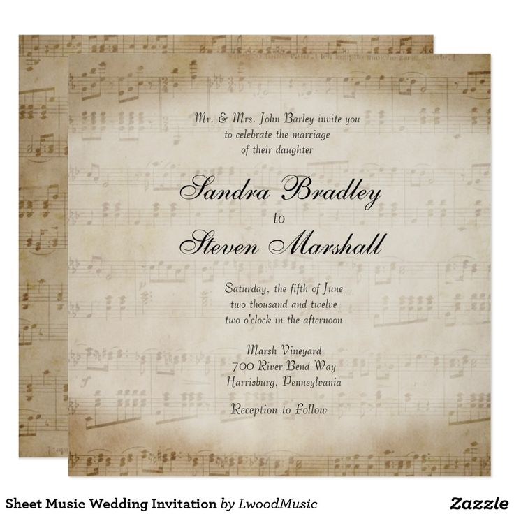 Shop Antique Sheet Music Theme Wedding Invitation Created By LwoodMusic.