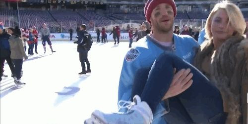 Tom Wilson Pranks Brooks Laich and Julianne Hough During Winter Classic Interview (GIF)
