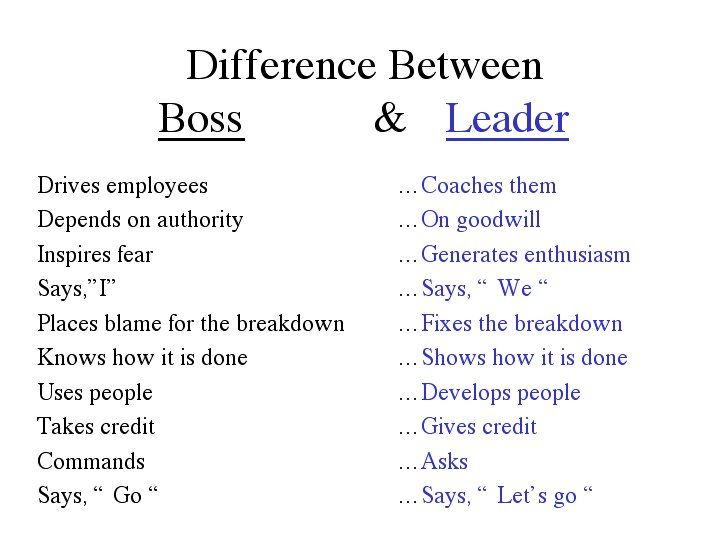Since I understood the difference, I never had a Boss and never was a Boss again. I love my job!