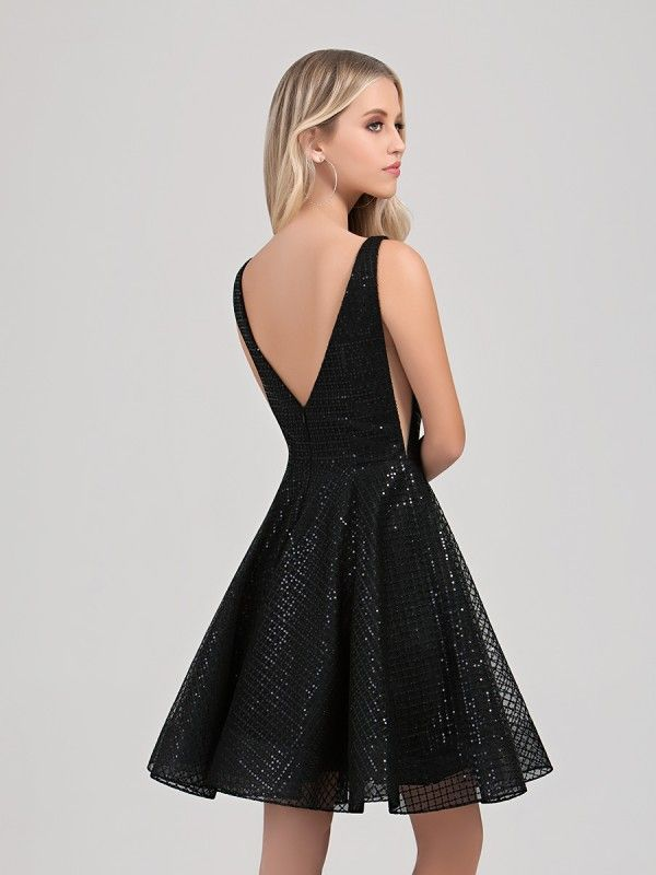 1c3c1cf08c Val Stefani Cocktail 3358RY short sequin A-line homecoming dress with low V-back  and sexy illusion insets