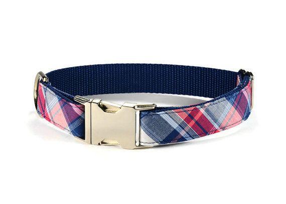 Americana Plaid Dog Collar Preppy Dog Collar Plaid Dog