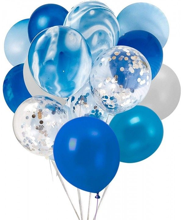 Latex Confetti Balloons-20 Pcs Blue and Sliver Biodegradable Balloon for Party Wedding Decoration - Blue - CS18E8GU2GA
