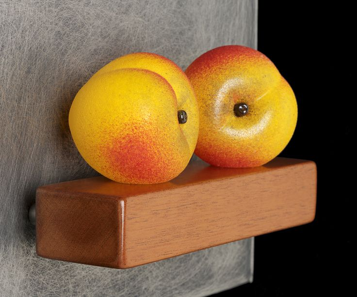 Art Glass, 'Two Peaches Still-Life', wall sculpture composed of hand blown glass peaches, stainless steel and mahogany.