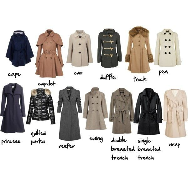 A visual Coat glossary (for women) Via More Visual Glossaries: Backpacks / Bags / Hats / Belt knots / Coats / Collars / Darts / Dress Silhouettes / Hangers / Harem Pants / Heels / Nail shapes /...