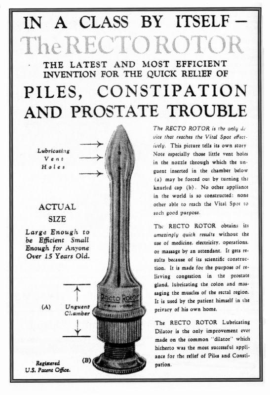 Le Rectorotor - La dernière et la plus efficace invention pour le soulagement rapide des hémorroïdes, de la constipation et des troubles de la prostate.