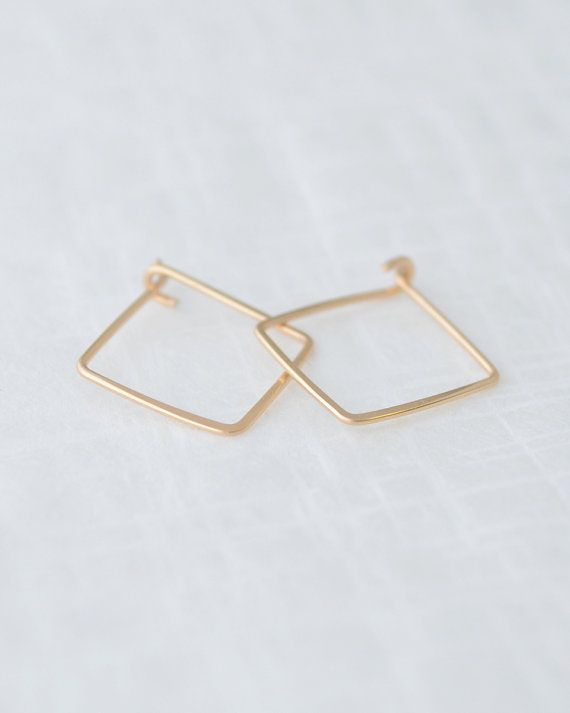 Small Square Hoop Earrings - handmade and hammered in gold, silver and rose gold. By Olive Yew.
