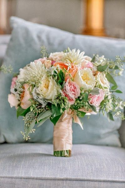 pastel rose and dahlia bouquet by Holly Chapple Ltd.