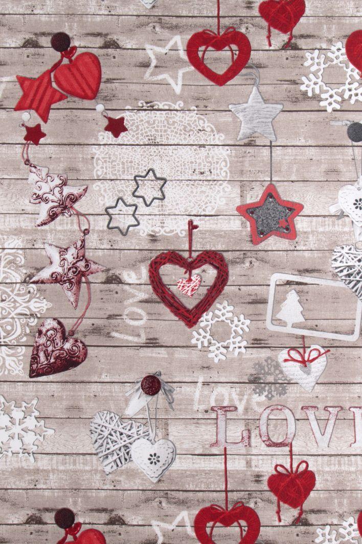 Vánoční dekorační látka Vánoční ozdoby na dřevě, metráž