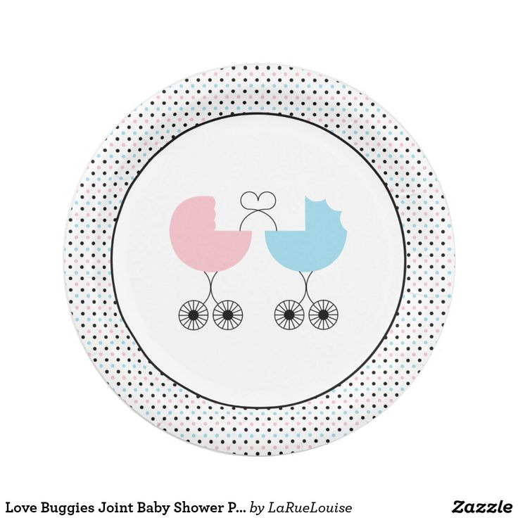 Love Buggies Joint Baby Shower Plates, Pink/Blue Paper Plate