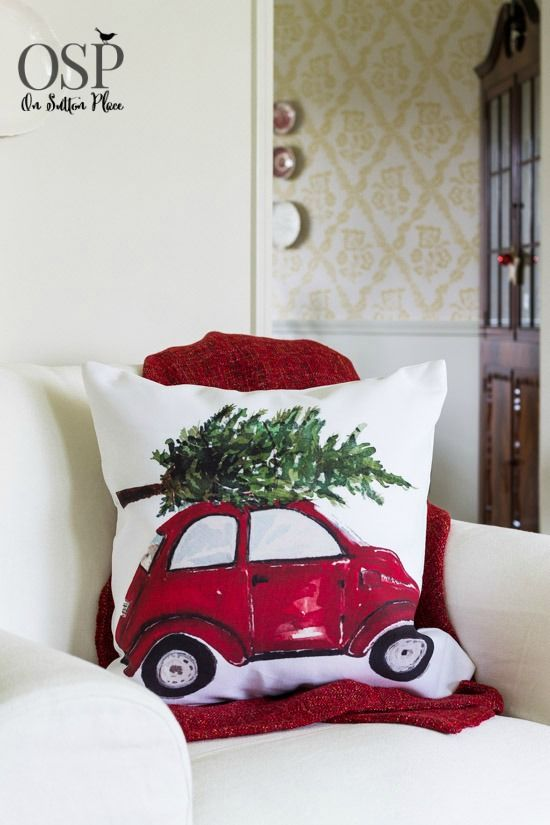 On Sutton Place Christmas Home Tour | Red Beetle Pillow Cover from Craftberry Bush