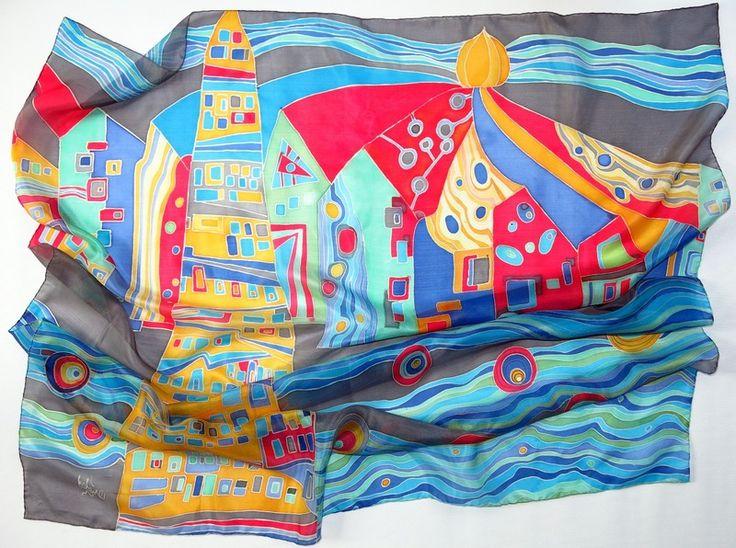 Hundertwasser silk scarf. Hand painted silk scarf from SilkMood by DaWanda.com