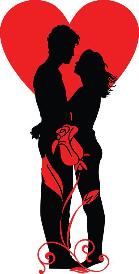 romantic couple silhouette clip