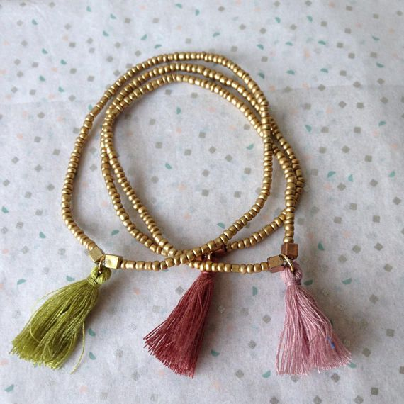 Brass Gold Elastic Bangles Set x 3 / Stretchy Gold Tassel