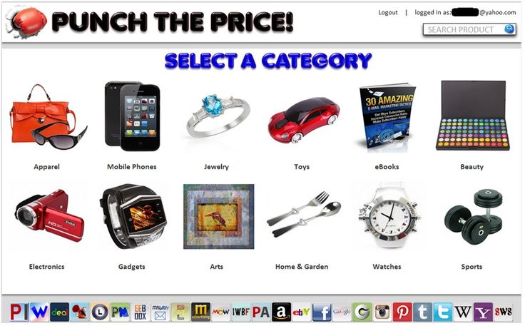 Punch the Price and the price goes down between 1-5% randomly each time you punch it. You can save up to 99% on all products listed, i.e.: electronics, jewelry, smart phones, apparel, arts and so much more. Punch the Price, but you have to be fast or you will be knocked out. Have fun and save money! http://punchtheprice.perfectinter.net/