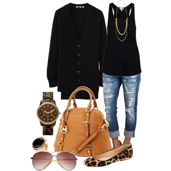 """I have capris, a black tank, black flats, a long necklace, and black cardigan. Another idea for my closet. """"My Style"""" by deniselanders on Polyvore"""
