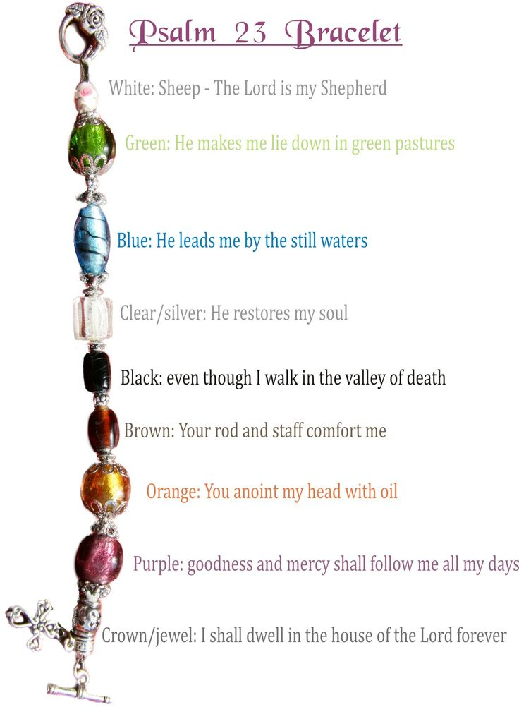 """Psalm 23 bracelet - Can be redone using pony beads or other beads.""~ love this!"